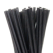 "7.75"" Milkshake Solid Black Paper Straws"