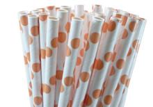 Peach Polka Dot Paper Straws