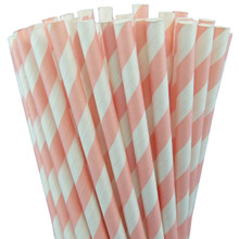 Paper Straws - Light Pink Stripes