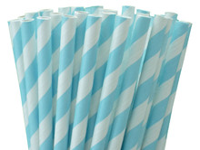 Paper Straws - Baby Blue Stripes