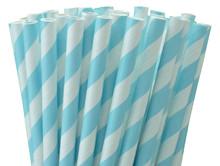 Paper Straws - Baby Blue Stripes