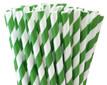 Dark Green Striped Paper Straws
