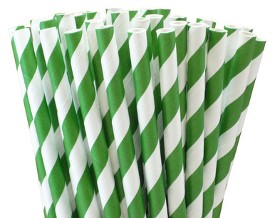 Dark Green Striped Paper Straws