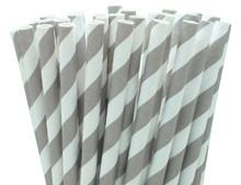 Paper Straws - Grey Stripes