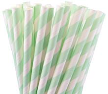 Paper Straws - Mint Green Stripes