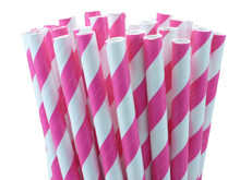 Shocking Pink Paper Straws