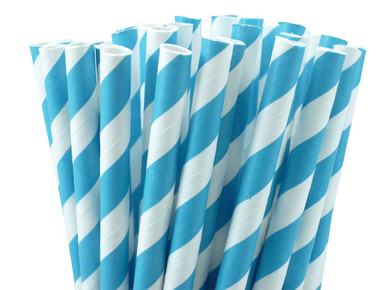 Turquoise Blue Stripes Paper Straws