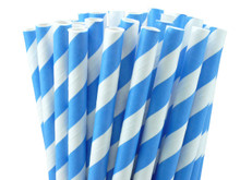 European Blue Striped Paper Straws