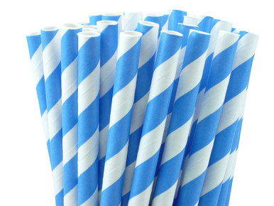 European Blue Striped Paper Straws