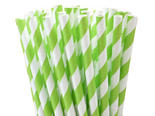 Paper Straws - Lime Green Stripes