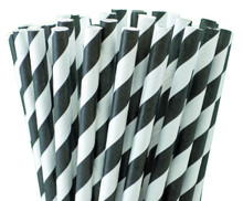 Tall Paper Straws - Black Stripes