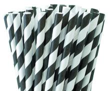 Tall Paper Straws - Black Stripes
