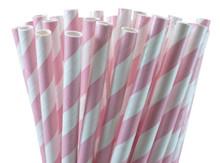 Tall Paper Straws - Light Pink Stripes