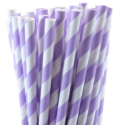 Extra Long Lavender Striped Paper Straws