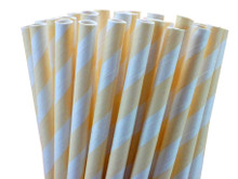 Cream Striped Paper Straws