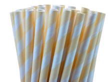 Cream Striped Paper Straws