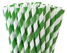 Short Cocktail Paper Straws - Dark Green Stripes
