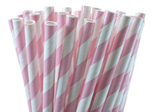 Short Cocktail Paper Straws - Light Pink Stripes