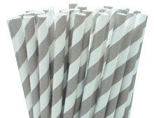 Short Cocktail Paper Straws - Grey Stripes