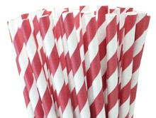 Short Cocktail Paper Straws - Red Stripes