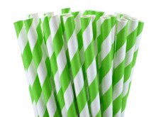 Tall Paper Straws - Jasmine Green Stripes