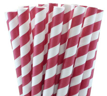 Jumbo Smoothie Paper Straws - Red Stripes