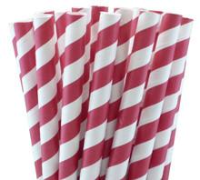 Jumbo Paper Straws - Red Stripes