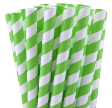 Jumbo Paper Straws - Jasmine Green Stripes