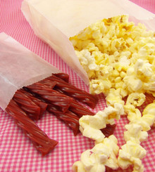 "Popcorn in Medium Glassine Bags. Licorice in 3"" x 5 1/2"" Glassine Bags"