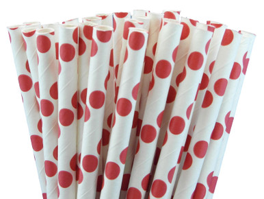 Paper Straws with Red Polka Dots