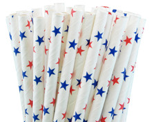 Paper Straws - Red & Blue Stars