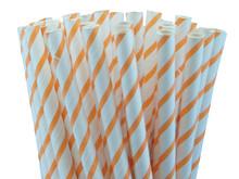 Orange Thin Striped Paper Straws