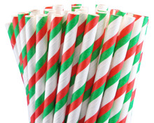 Paper Straws - Christmas Stripes