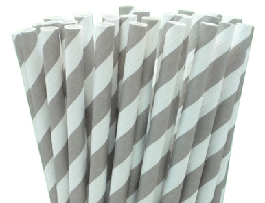 Extra Long Grey Paper Straws