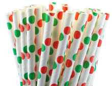 Paper Straws - Christmas Dots
