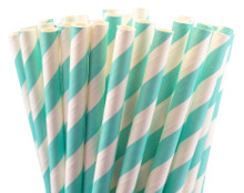 Paper Straws - Robin Egg Blue Stripes