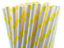 Paper Straws - Yellow Dots