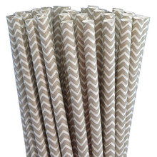 Paper Straws - Grey Chevron