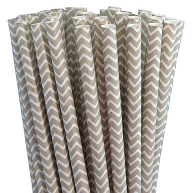 Home Paper Straws Standard Length Chevron Paper Straws - Grey Chevron