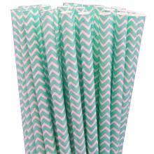 Paper Straws - Robin Egg Blue Chevron