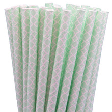 Paper Straws - Mint Green Lace