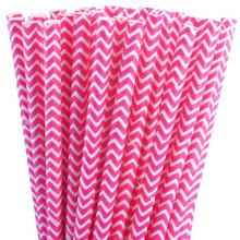 Paper Straws - Pink Chevron