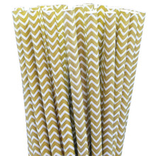 Paper Straws - Gold Chevron