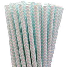 Paper Straws - Baby Blue Chevron