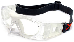 Sports Goggles AQ068 Crystal Clear / White with Nose Protector (Prescription/Rx Lenses Available)