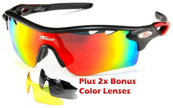 Sports Wrap-Around Sunglasses PO565 Matt Black / Red - UV400 Rated