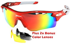 Sports Wrap-Around Sunglasses PO565 Red / White  - UV400