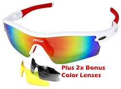 Sports Wrap-Around Sunglasses JH0028 White / Red  - UV400