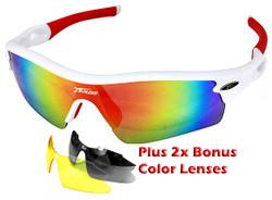 Sports Wrap-Around Sunglasses JH0028 White / Red  - UV400