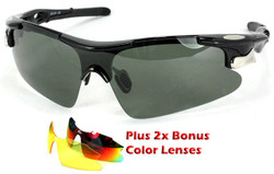 Sports Wrap-Around Sunglasses D548 Black - UV400